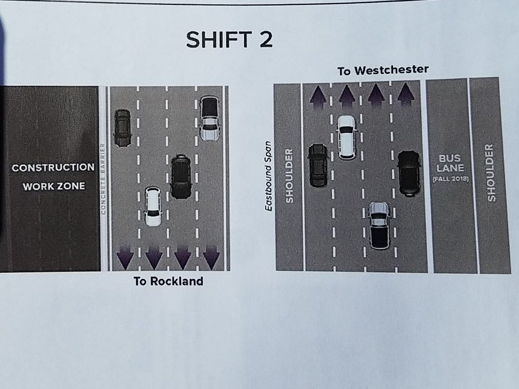 A state information sheet  shows Shift 2 of traffic, which will take place two weeks after after the second span of the Gov. Mario M. Cuomo Bridge opens Saturday, Sept. 8, 2018.