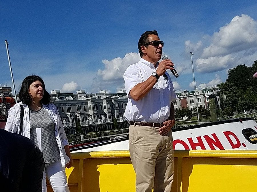 Gov. Andrew Cuomo announced Tuesday, Sept. 4, 2018, that the second span of the Tappan Zee Bridge replacement would open Saturday, Sept. 8, 2018. With him on the bridge is Project Director Jamey Barbas.