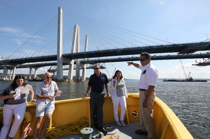 Gov. Andrew Cuomo gives a tour of the almost completed eastbound span of the Gov. Mario M. Cuomo Bridge Sept. 4, 2018.