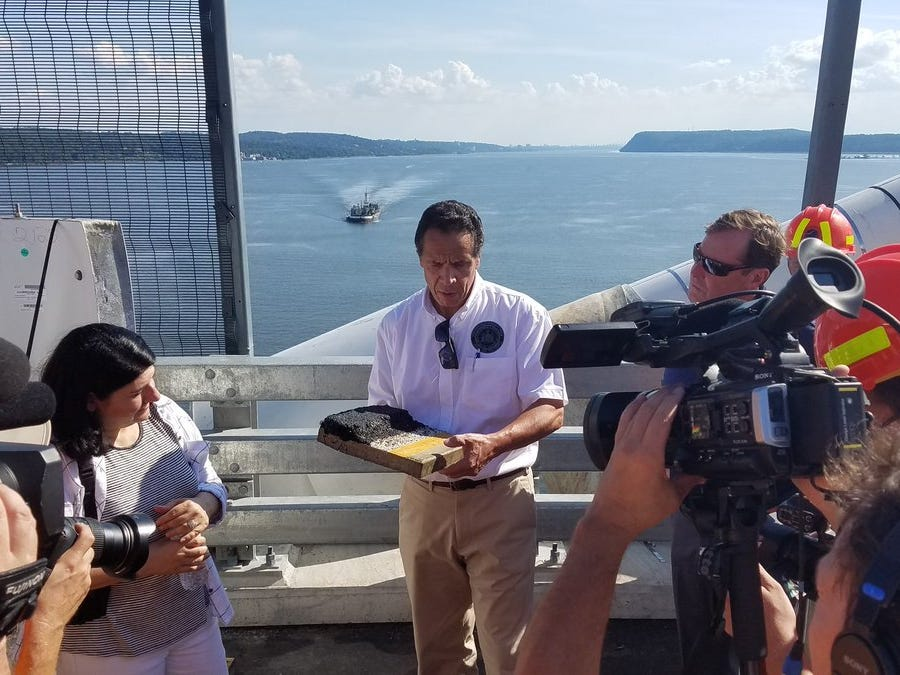 Gov. Andrew Cuomo reviews some of the engineering details of the bridge during a tour with the media, Tuesday, Sept. 4, 2018.