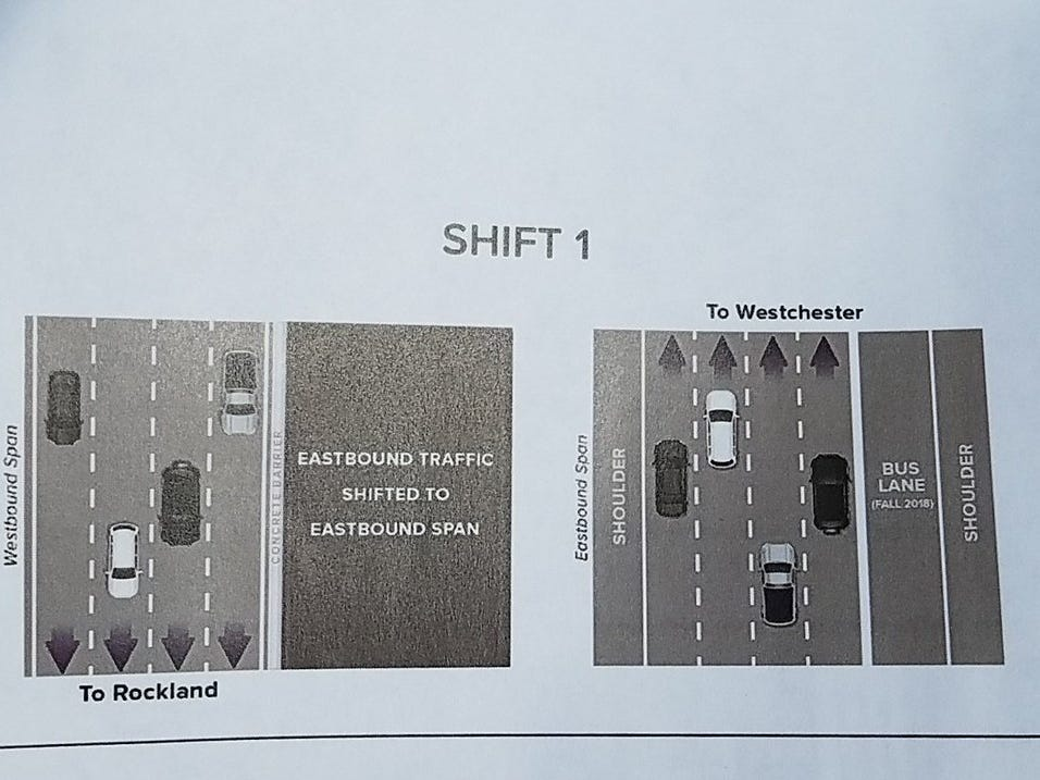 A state information sheet  shows how the traffic will be shifted when the second span of the Gov. Mario M. Cuomo Bridge opens Saturday, Sept. 8, 2018. Shift 1 will take place Sept. 7 into Sept. 8, 2018. A second shift will come two weeks later.
