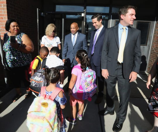 Assembly Speaker Carl Heastie, and Assembly members Kenneth Zebrowski and James Skoufis visit West Haverstraw Elementary on the first day of full day  kindergarten Sept. 4, 2018. The Assembly members achieved funding for statewide universal full day kindergarten.