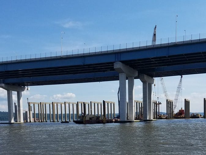 Plenty of concrete columns remain to be taken down still from the Tappan Zee Bridge. The old bridge has to be demolished for the project to be done, contractually. The columns are seen Sept. 4, 2018, during a media tour of the bridge.