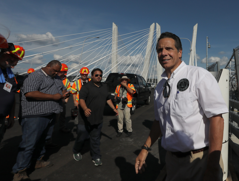 Gov. Andrew Cuomo on the eastbound span of the Gov. Mario Cuomo Bridge Sept. 4, 2018.