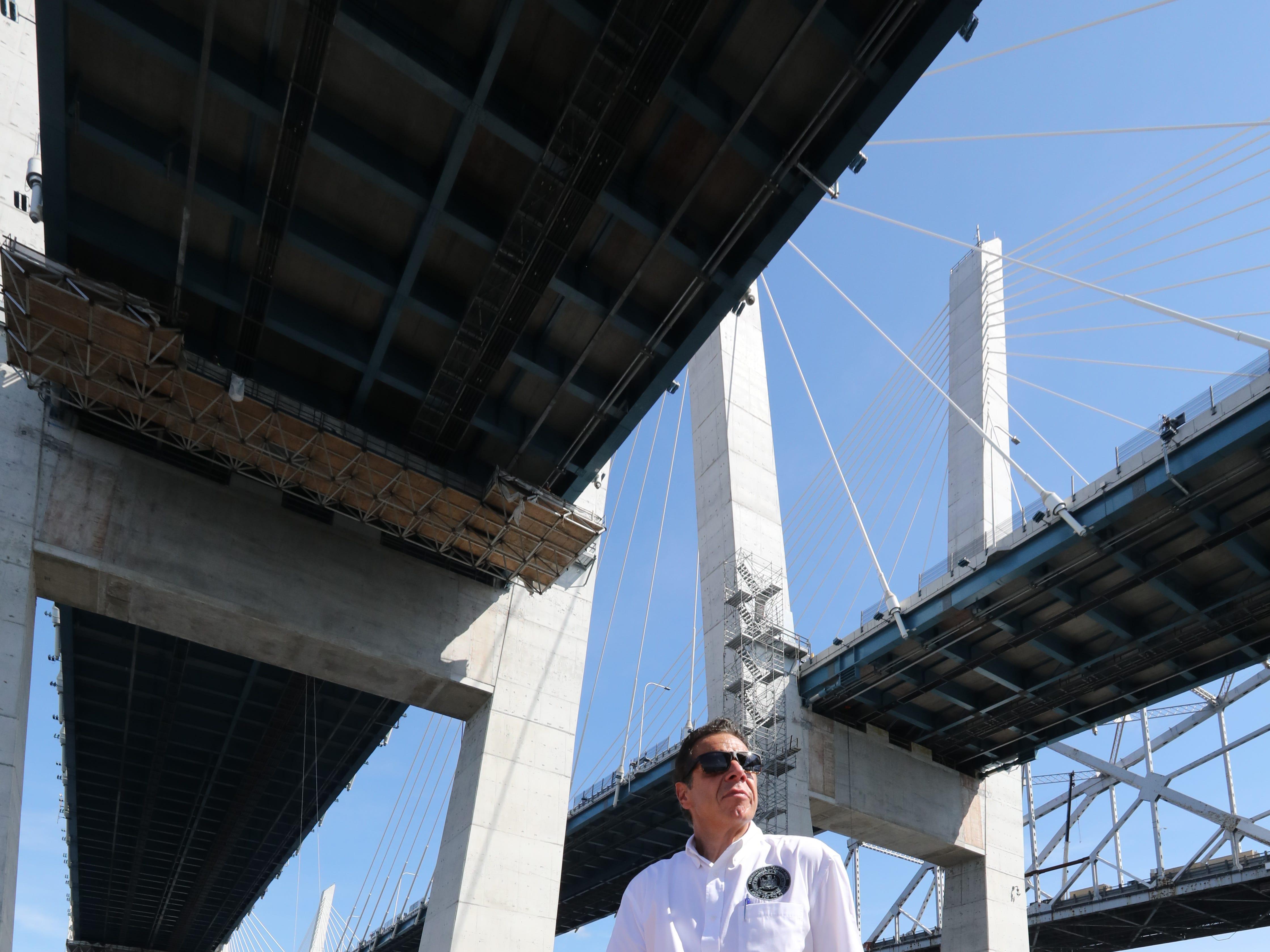 Gov. Andrew Cuomo on a boat under the Gov. Mario Cuomo Bridge Sept. 4, 2018.