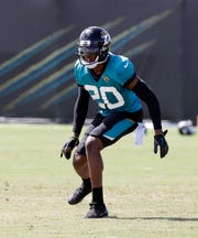 FILE - In this Aug. 1, 2018, file photo, Jacksonville Jaguars cornerback Jalen Ramsey looks to defend a receiver during a practice at NFL football training camp, in Jacksonville, Fla. The Jaguars not only are contenders, they are a popular pick to reach their first Super Bowl. That means dealing with high expectations from the start.  (AP Photo/John Raoux, File)