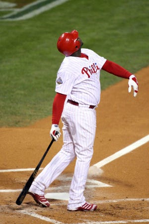 Ryan Howard flies out to left field to end the sixth inning of Game 5 of the World Series at Citizens Bank Park Oct. 29, 2008.