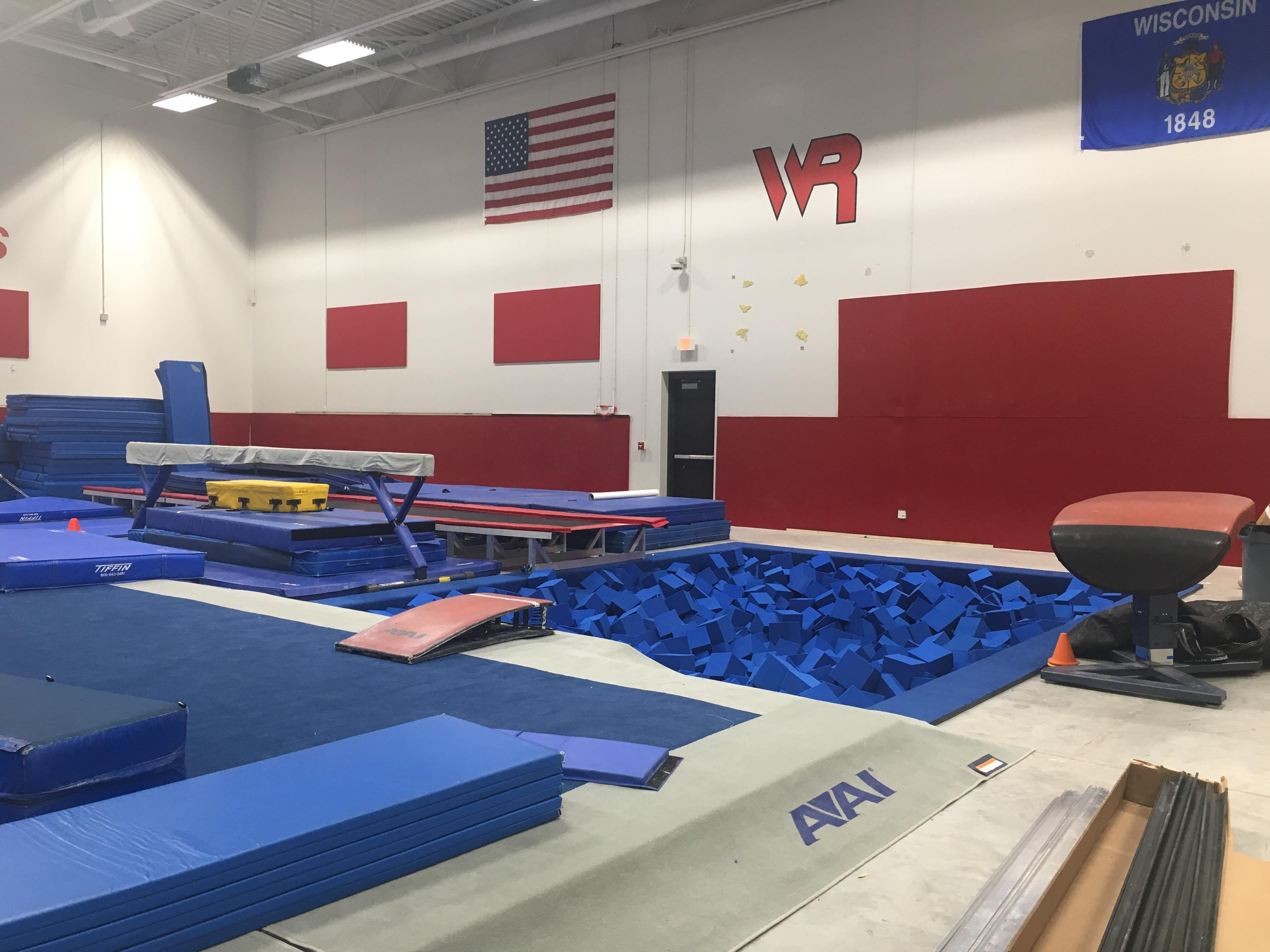 The gymnastics side of Lincoln High School's new auxiliary gym. Gymnasts will share the new gym with the wrestling team.