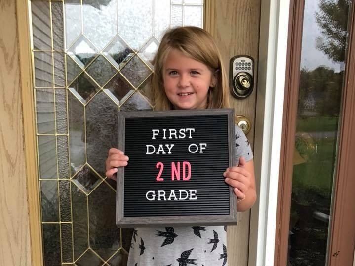 Aaliyah Easton on her first day of second grade at Evergreen Elementary School in Rothschild.