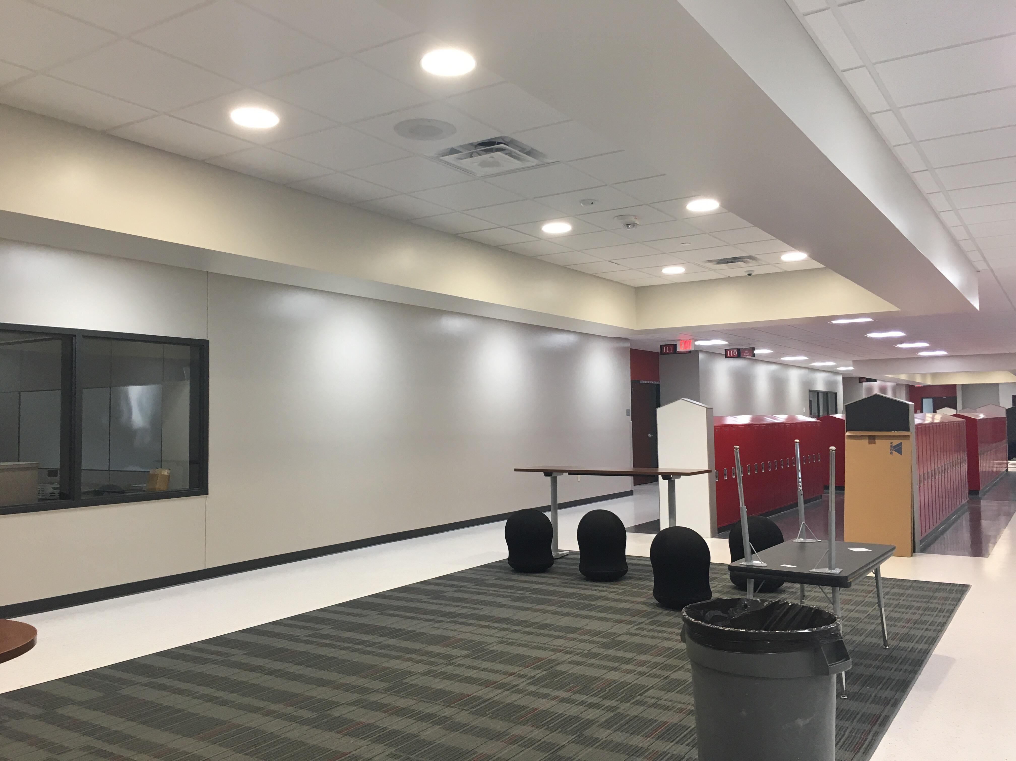 The new sixth-grade wing at Wisconsin Rapids Area Middle School, including new lockers, classrooms and gathering areas.