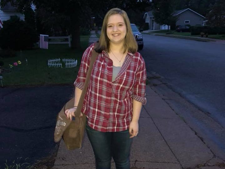 Hailey Panzer on her first day of ninth grade at D.C. Everest Junior High School in Schofield.