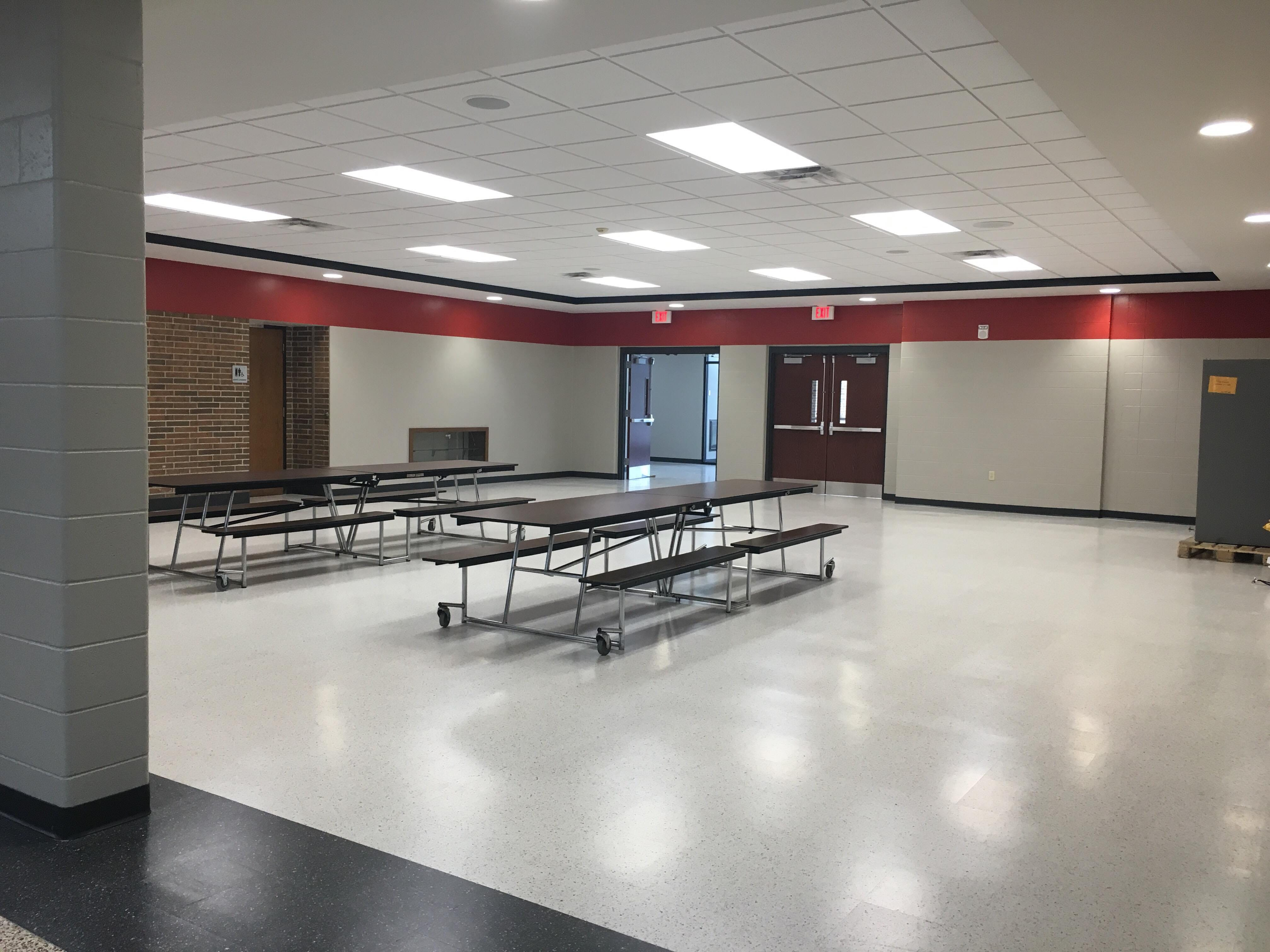 The new main entrance at Wisconsin Rapids Area Middle School is a former classroom and also holds the concession area.