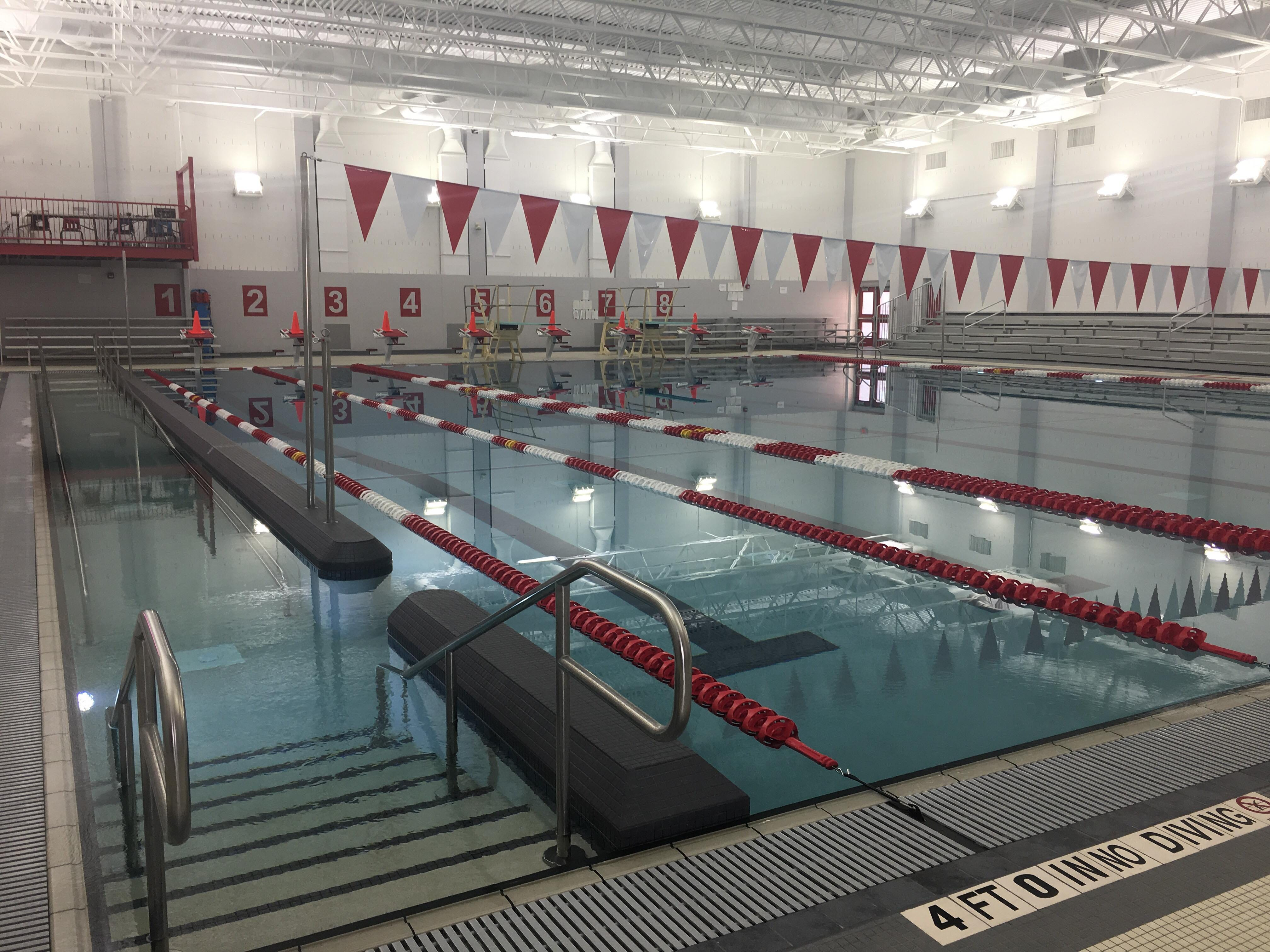 Lincoln High School's renovated swimming pool, which now includes a handicap-accessible entry point and a deeper end for diving.