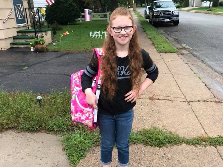 Kylah Panzer on her first day of fourth grade at Evergreen Elementary School in Rothschild.