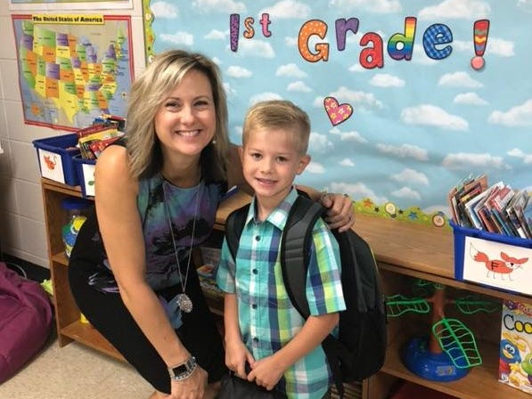 Finn Lee on his first day of first grade at Grant Elementary School in Wisconsin Rapids.