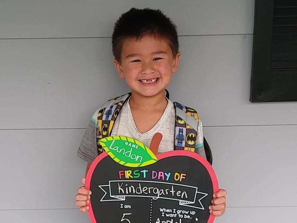 Landon Piper on his first day of kindergarten at Washington Elementary School in Marshfield.