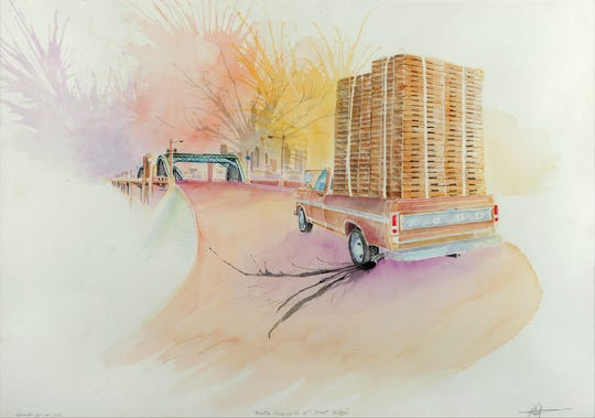 """""""Quiroz Wenceslao Pallet Pickup On 6th Street Bridge"""" is part of the """"""""Papel Chicano Dos: Works on Paper from the Collection of Cheech Marin,"""" features 65 pieces by 24 artists."""