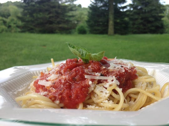 Homemade tomato basil sauce made from fresh-from-the-garden tomatoes.