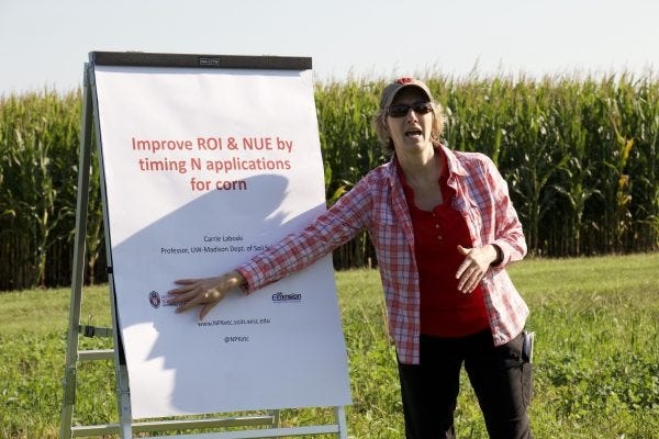 UW–Madison/UW-Extension soil expert Carrie Laboski describes her new research on return on investment and nitrogen use efficiency in corn, performed at UW–Madison agricultural research stations in Marshfield and Arlington.