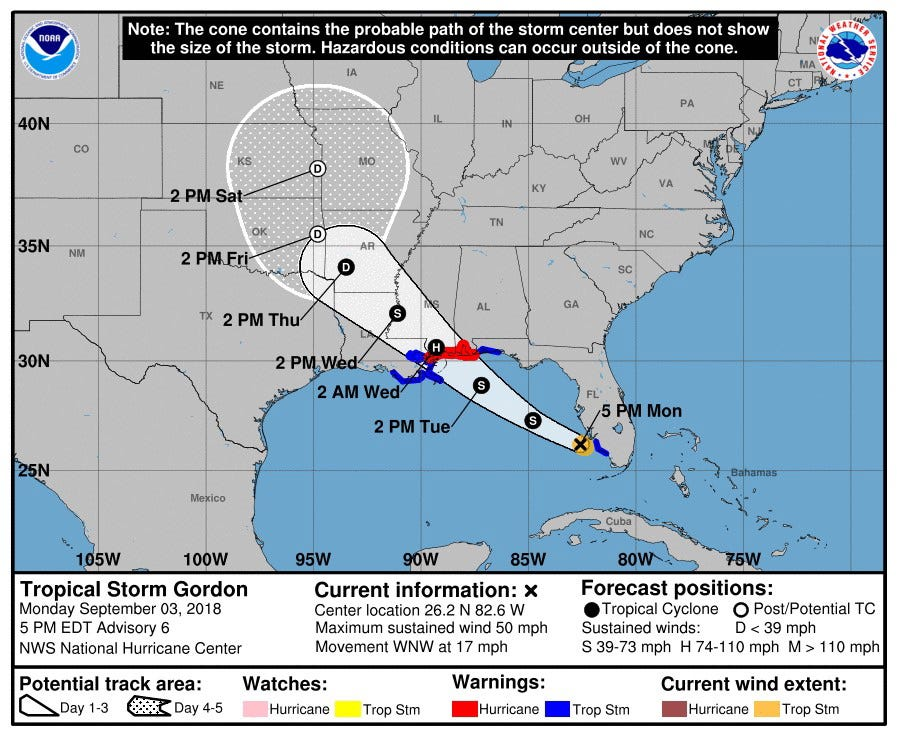 Tropical Storm Gordon expected to hit the Gulf Coast as a hurricane