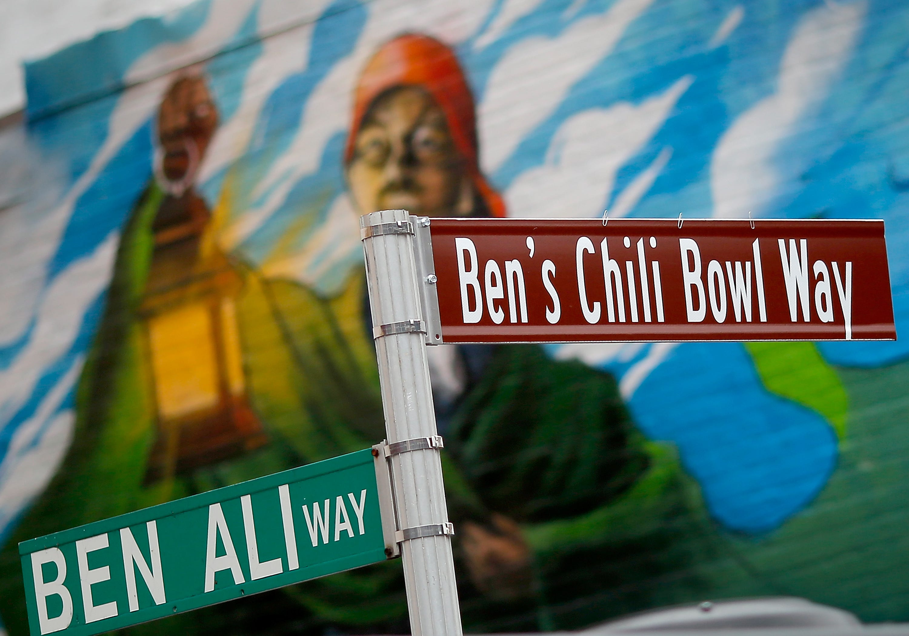 A new street sign for Ben's Chili Bowl Way was unveiled as Washington D.C. residents enjoyed the 60th birthday block party for area landmark Ben's Chili Bowl Aug. 22, 2018 in Washington, DC. Ben's Chili Bowl was opened in 1958 by Virginia Ali and her husband Ben. Ben's original location is a neighborhood staple where such luminaries as Ella Fitzgerald, Nat King Cole, Martin Luther King, Jr., and former President Barack Obama have eaten.