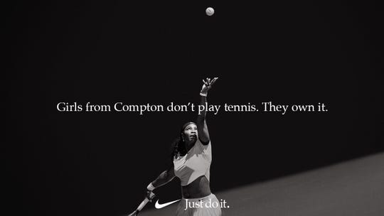 Nike ad featuring Serena Williams.
