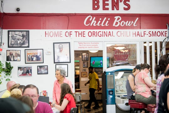 Virginia Ali, 85, owner and co-founder of Ben's Chili Bowl speaks with guests.