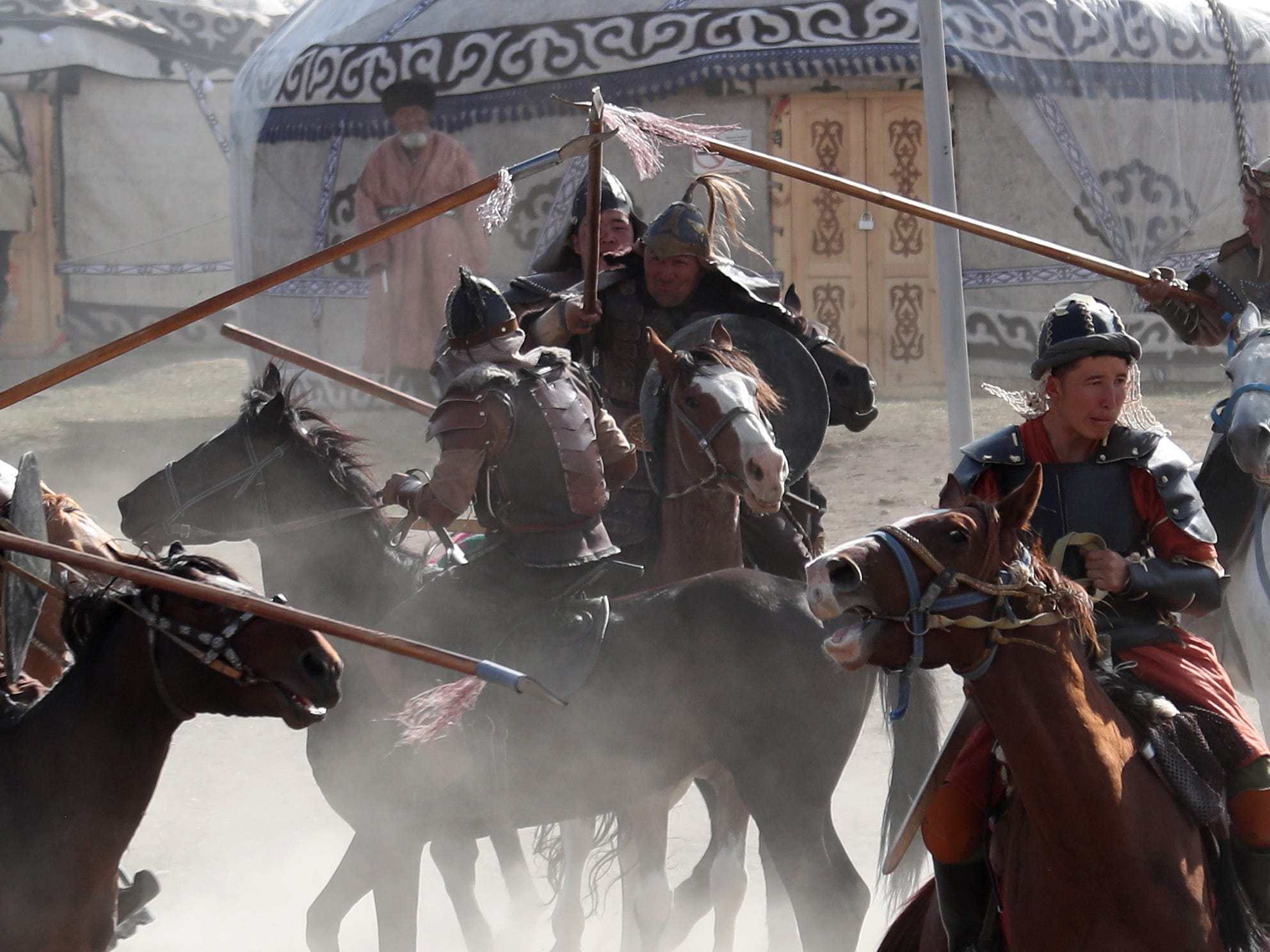 Participants take part in the third World Nomad Games in Cholpon-Ata, Kyrgyzstan, Sept. 3, 2018.