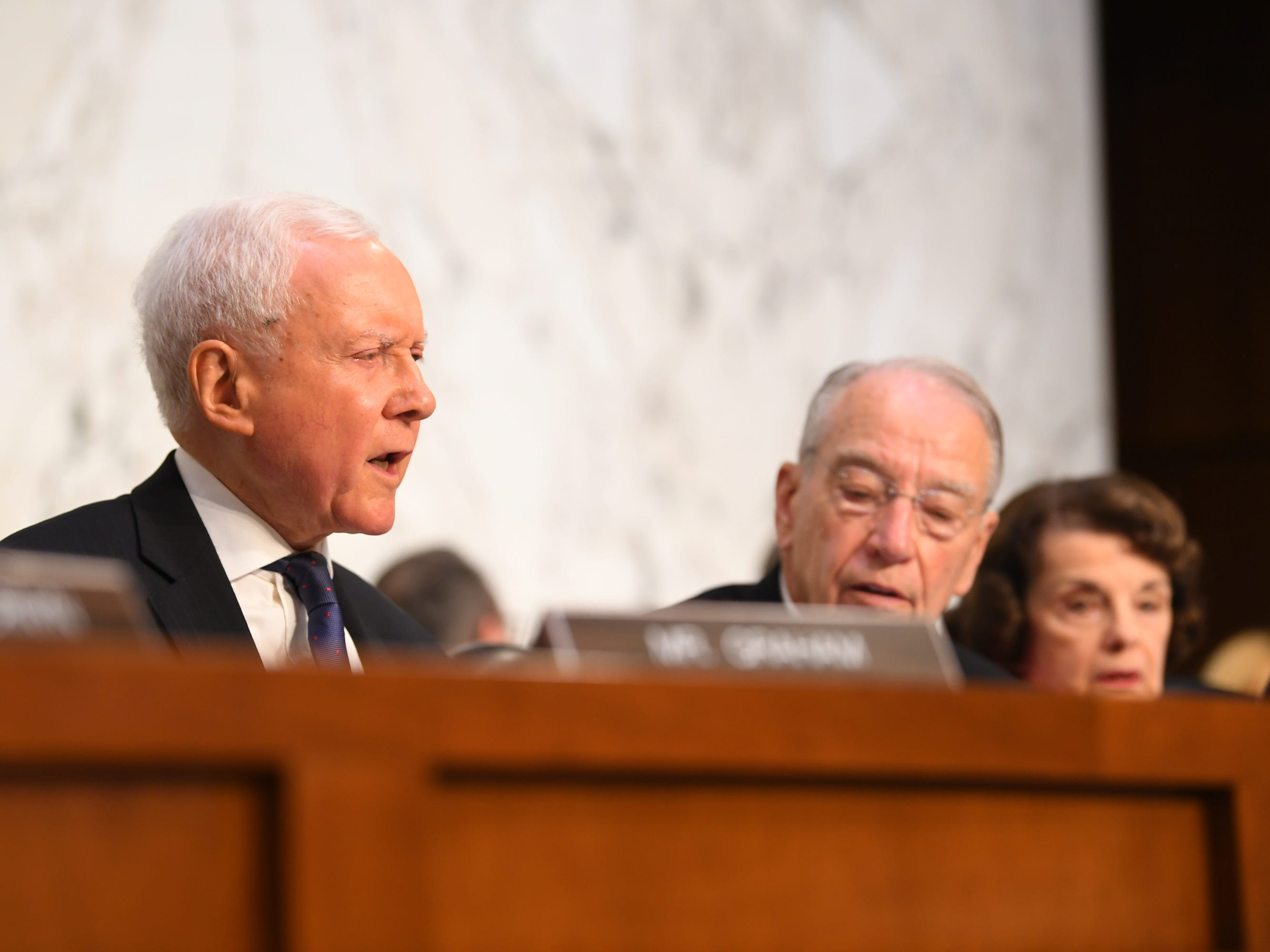 9/4/18 11:12:51 AM -- Washington, DC, U.S.A  --  Sen. Orrin Hatch (R-Utah) speaks during the hearing for Supreme Court Associate Justice nominee Brett Kavanaugh on Sept. 4, 2018 in Washington. Kavanaugh was nominated by President Donald Trump to replace Justice Anthony Kennedy, who retired from the Supreme Court in July.  --    Photo by Jack Gruber, USA TODAY Staff ORG XMIT:  JG 137433 Kavanaugh Confir 9/4/2018 (Via OlyDrop)