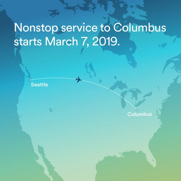 Alaska Airlines used this promotional image to accompany its announcement for new daily nonstop service between Seattle and Columbus, Ohio.