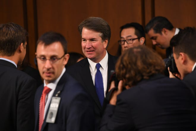 9/4/18 1:17:07 PM -- Washington, DC, U.S.A  -- Supreme Court Associate Justice nominee Brett Kavanaugh appears before the Senate Judiciary Committee during his confirmation hearing on Sept. 4, 2018 in Washington. Kavanaugh was nominated by President Donald Trump to replace Justice Anthony Kennedy,who retired from the Supreme Court in July.  --    Photo by Jack Gruber, USA TODAY Staff ORG XMIT:  JG 137433 Kavanaugh Confir 9/4/2018 (Via OlyDrop)