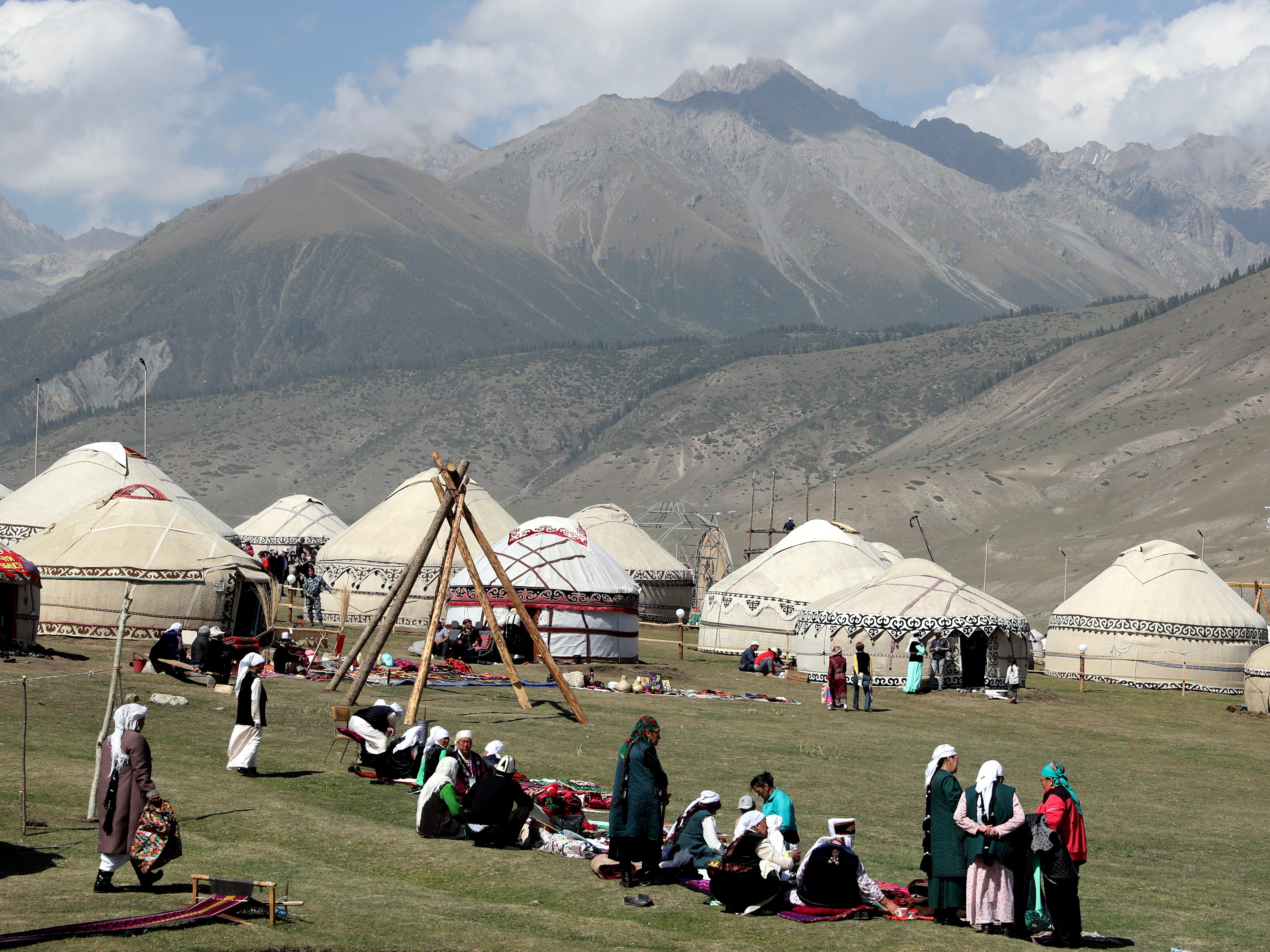 A yurt town can be seen during the third World Nomad Games in Cholpon-Ata, Kyrgyzstan, Sept. 4, 2018.