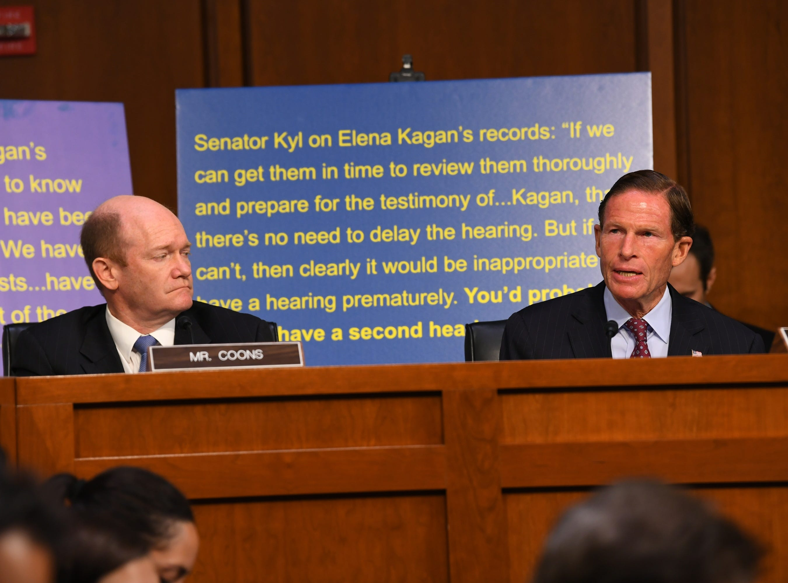 9/4/18 10:41:45 AM -- Washington, DC, U.S.A  -- Sen. Richard Blumenthal (D-Conn.), right speaks during the hearing for Supreme Court Associate Justice nominee Brett Kavanaugh on Sept. 4, 2018 in Washington. Kavanaugh was nominated by President Donald Trump to replace Justice Anthony Kennedy, who retired from the Supreme Court in July. Listening at left is Sen. Chris Coons (D-Del.). --    Photo by Jack Gruber, USA TODAY Staff ORG XMIT:  JG 137433 Kavanaugh Confir 9/4/2018 (Via OlyDrop)