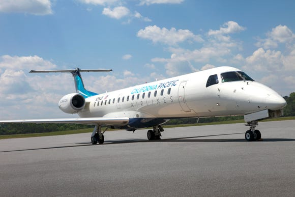 This image provided by California Pacific Airlines shows one of the company's Embraer E145 regional jets.
