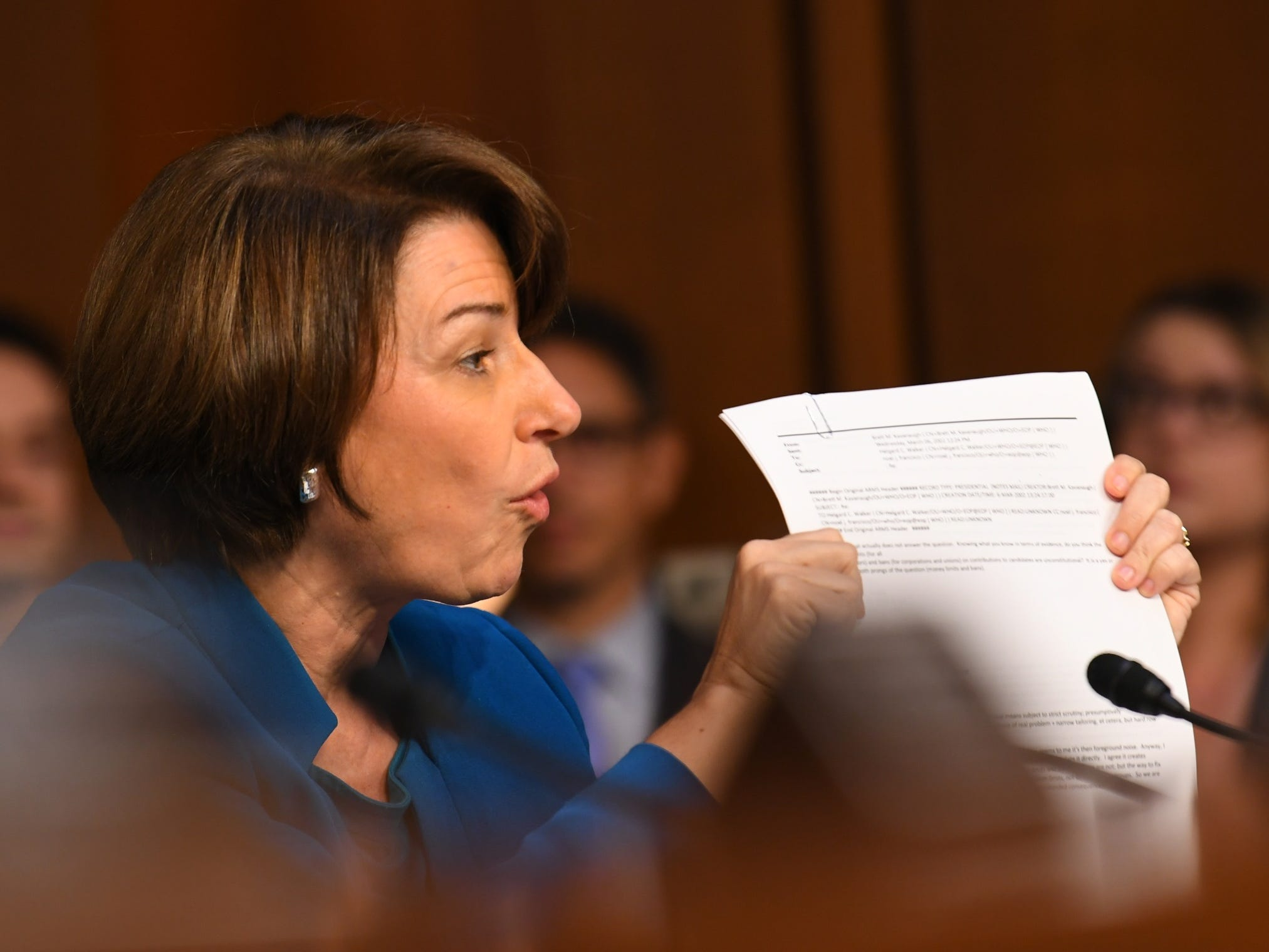 9/4/18 10:27:46 AM -- Washington, DC, U.S.A  -- Amy Klobuchar (D-Minn.) speaks during the hearing for Supreme Court Associate Justice nominee Brett Kavanaugh on Sept. 4, 2018 in Washington. Kavanaugh was nominated by President Donald Trump to replace Justice Anthony Kennedy, who retired from the Supreme Court in July.  --    Photo by Jack Gruber, USA TODAY Staff ORG XMIT:  JG 137433 Kavanaugh Confir 9/4/2018 (Via OlyDrop)