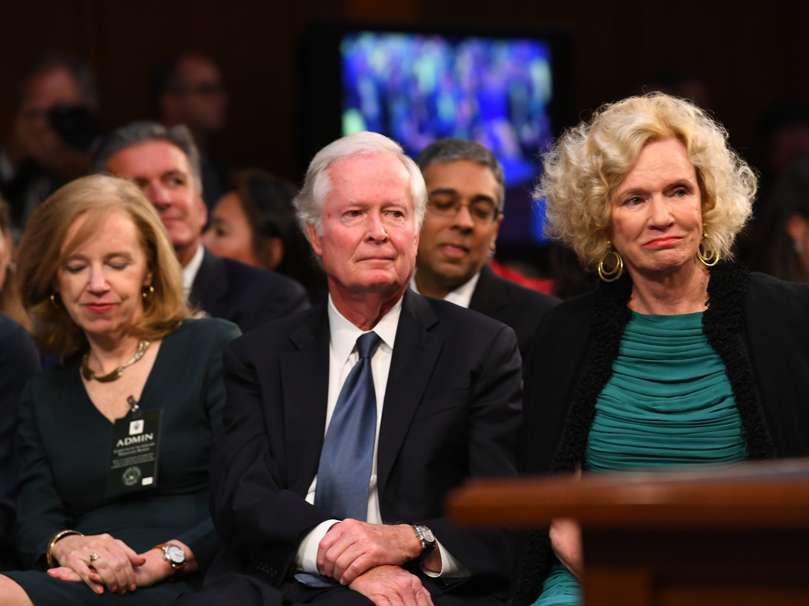 Everett Kavanaugh Jr. and Martha Kavanaugh, the parents of Supreme Court Associate Justice nominee Brett Kavanaugh, listen during the hearing