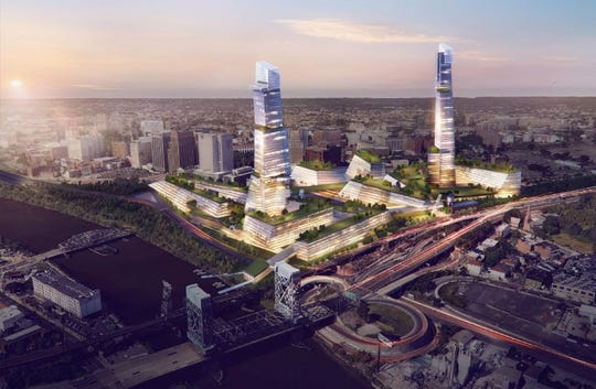 A proposed Amazon second headquarters campus for Newark, New Jersey by Fifth Avenue North and Heller Manus Architects. The buildings are meant to be exciting and entice Amazon to consider Newark.