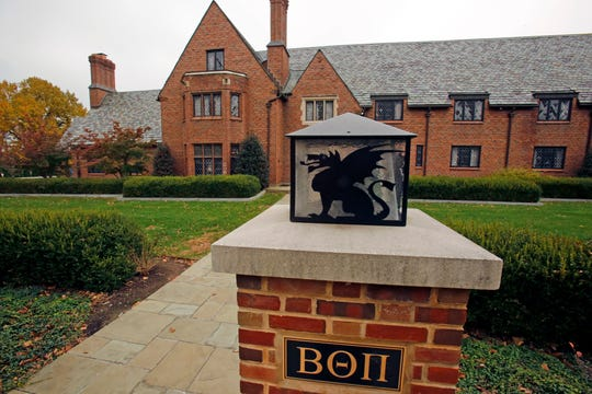 FILE - This Nov. 9, 2017, file photo shows the shuttered Beta Theta Pi fraternity house on Penn State University's main campus in State College, Pa. Former members of the fraternity are due in court for a preliminary hearing on charges related to the February 2017 death of a pledge after a night of hazing and drinking. The hearing Tuesday, Aug. 21, 2018, before a district judge will determine if there's enough evidence to send charges against several of the defendants in the case to county court for trial. The charges relate to the death of 19-year-old Tim Piazza, of Lebanon, New Jersey.