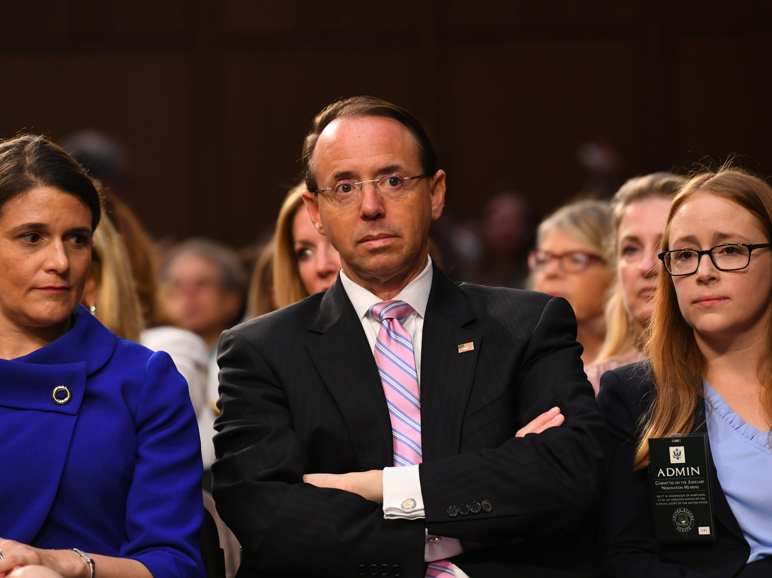 Deputy Attorney General Rod Rosenstein is seen during the confirmation hearing for Supreme Court Associate Justice nominee Brett Kavanaugh on Sept. 4, 2018 in Washington.