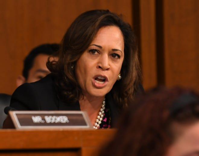 Sen. Kamala Harris (D-Calif.) calls for a delay in the hearing for Supreme Court Associate Justice nominee Brett Kavanaugh on Sept. 4, 2018 in Washington.
