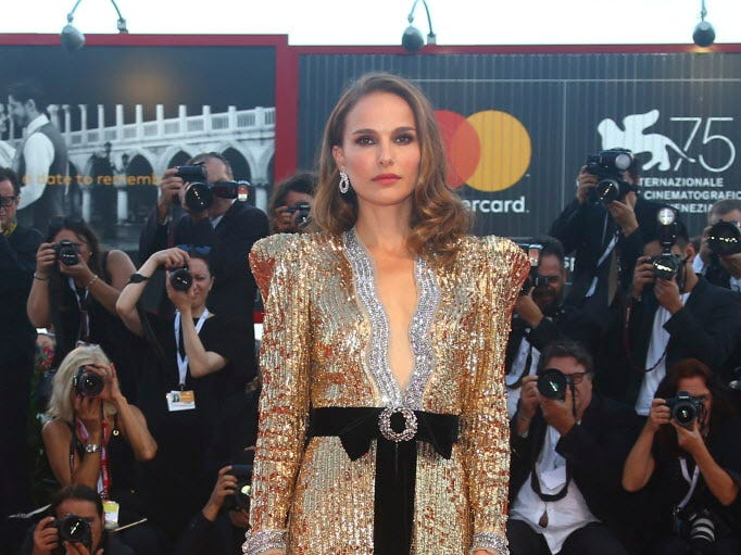 Actress Natalie Portman poses for photographers upon arrival at the premiere of the film 'Vox Lux' at the 75th edition of the Venice Film Festival in Venice, Italy, Tuesday, Sept. 4, 2018. (Photo by Joel C Ryan/Invision/AP) ORG XMIT: LENT167