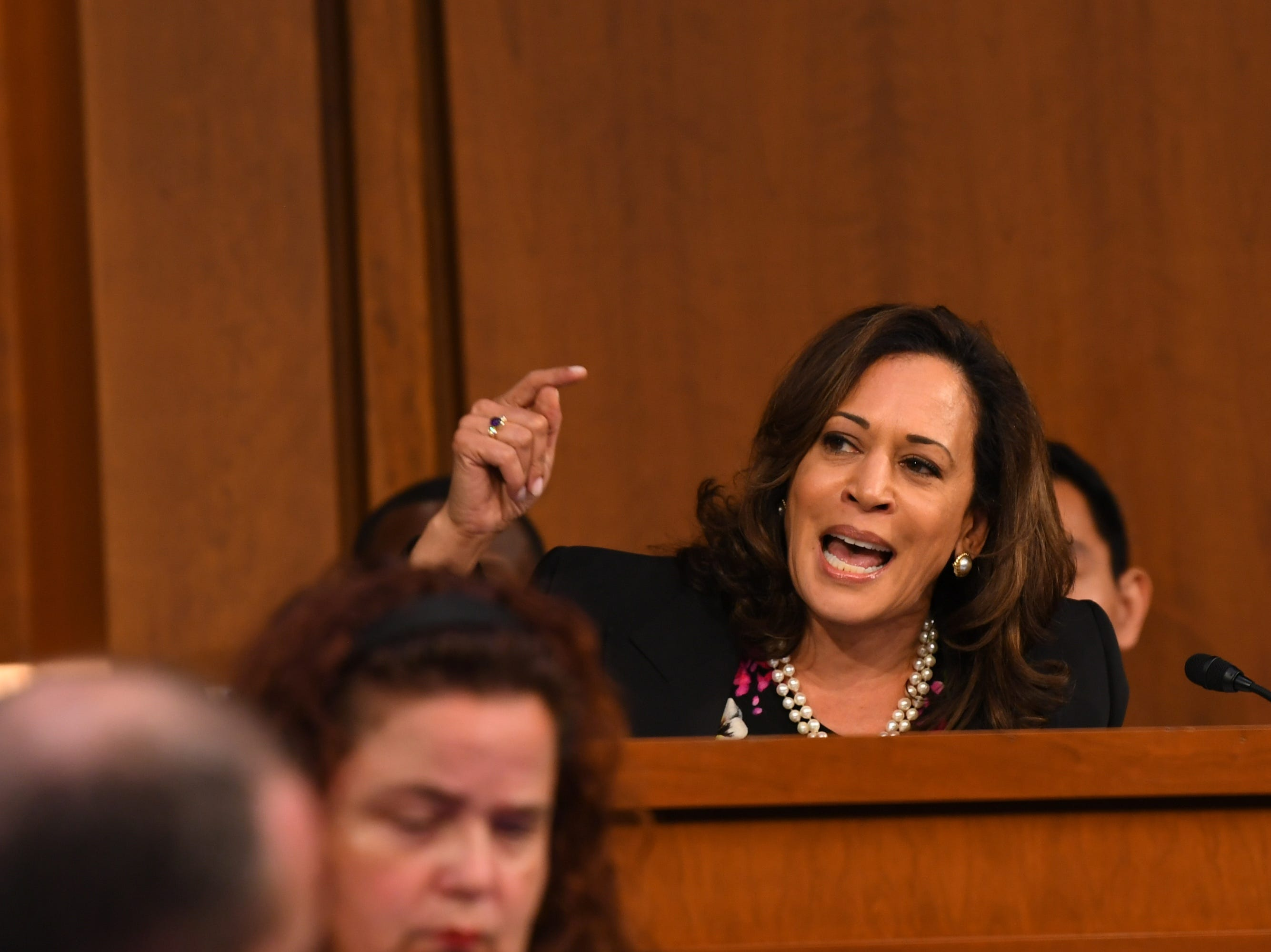 9/4/18 10:40:16 AM -- Washington, DC, U.S.A  - Sen. Kamala Harris (D-Calif.) speaks during the hearing for Supreme Court Associate Justice nominee Brett Kavanaugh on Sept. 4, 2018 in Washington. Kavanaugh was nominated by President Donald Trump to replace Justice Anthony Kennedy, who retired from the Supreme Court in July.  --    Photo by Jack Gruber, USA TODAY Staff ORG XMIT:  JG 137433 Kavanaugh Confir 9/4/2018 (Via OlyDrop)
