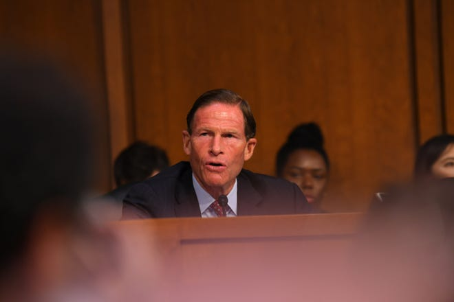Sen. Richard Blumenthal (D-Conn.) calls for a delay in the hearing for Supreme Court Associate Justice nominee Brett Kavanaugh on Sept. 4, 2018 in Washington.