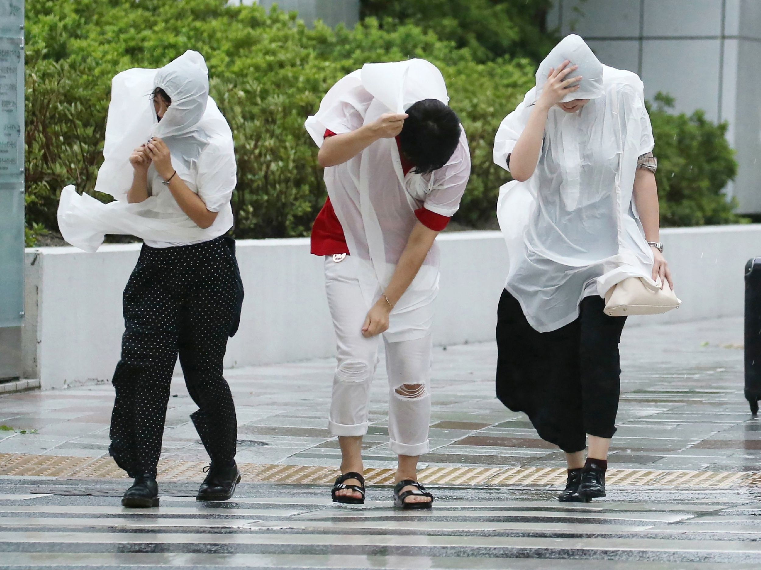 TOPSHOT - People walk against strong winds in Nagoya on September 4, 2018, as Typhoon Jebi made landfall around midday in southwestern Japan. - The strongest typhoon to hit Japan in 25 years made landfall on September 4, the country's weather agency said, bringing violent winds and heavy rainfall that prompted evacuation warnings. (Photo by JIJI PRESS / JIJI PRESS / AFP) / Japan OUTJIJI PRESS/AFP/Getty Images ORIG FILE ID: AFP_18U1S9