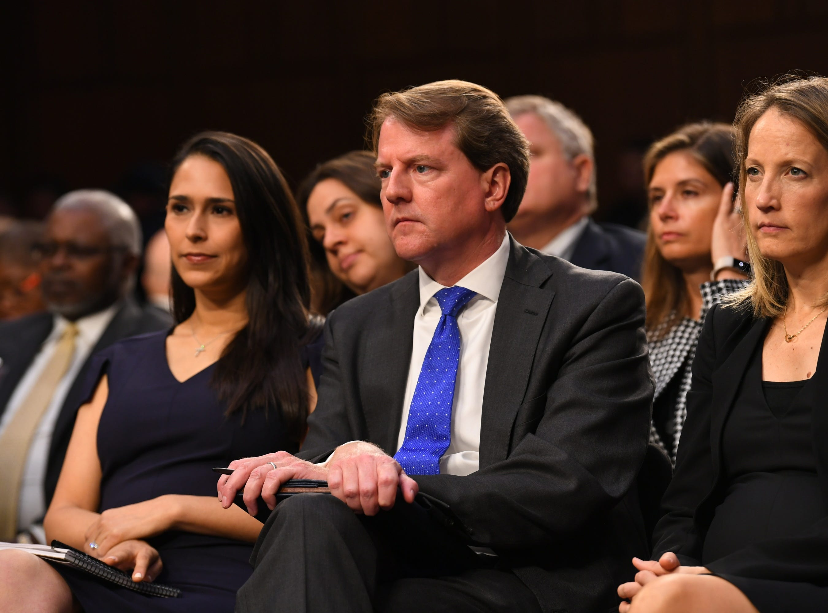 9/4/18 10:47:28 AM -- Washington, DC, U.S.A  - White House Attorney Don McGahn, center, listens during the hearing for Supreme Court Associate Justice nominee Brett Kavanaugh on Sept. 4, 2018 in Washington. Kavanaugh was nominated by President Donald Trump to replace Justice Anthony Kennedy, who retired from the Supreme Court in July.  --    Photo by Jack Gruber, USA TODAY Staff ORG XMIT:  JG 137433 Kavanaugh Confir 9/4/2018 (Via OlyDrop)