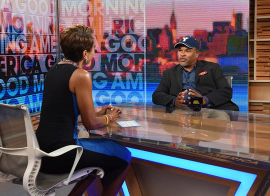 Geoffrey Owens paired his Trader Joe's name tag with a ball cap from his alma mater, Yale, for his Tuesday interview on 'Good Morning America,' where he said working a day job is nothing to be ashamed of.