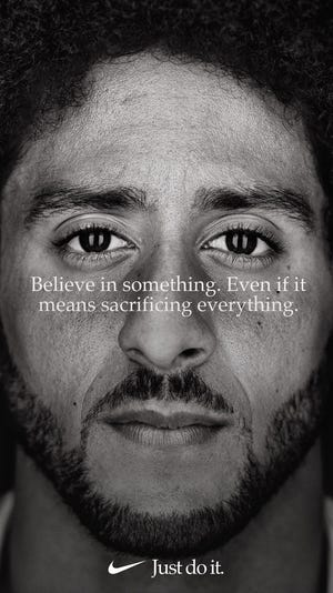 A new Nike advertisement features former NFL quarterback Colin Kaepernick.