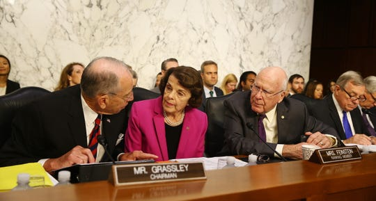 Senate Judiciary Committee Chairman Sen. Chuck Grassley, R-Iowa; Sen. Dianne Feinstein, R-California; Sen. Patrick Leahy, R-Vermont, and Sen. Dick Durbin, R-Illinois, at Senate confirmation hearing for Supreme Court nominee Brett Kavanaugh.