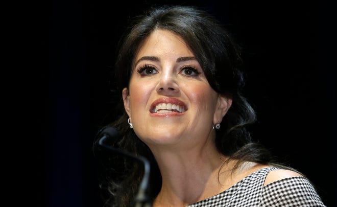 "In this June 25, 2015, file photo, Monica Lewinsky attends the Cannes Lions 2015, International Advertising Festival in Cannes, southern France.  Lewinsky says she stormed offstage at a Jerusalem event because of an interviewer's ""off limits"" question about former President Bill Clinton."
