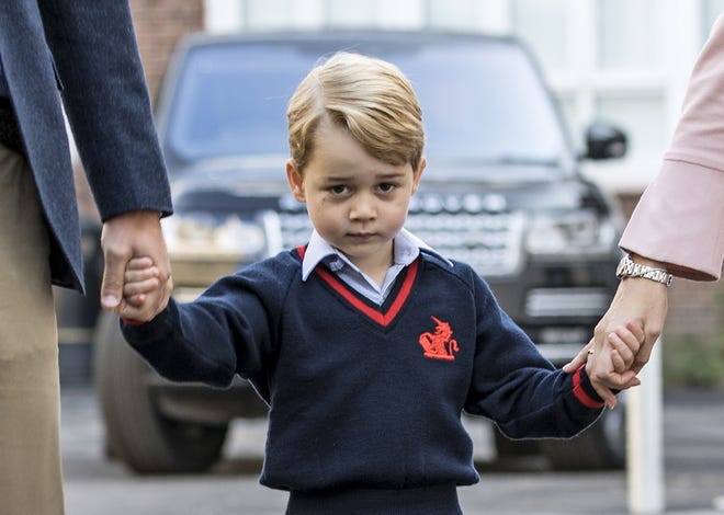 Prince George arrives for his first day of school at Thomas's Academy in London on Sept. 7, 2017.
